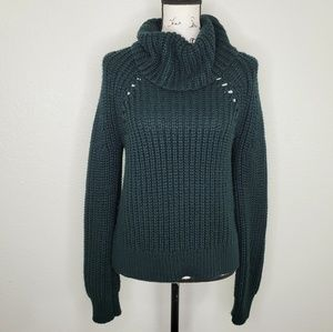 Kendall & Kylie Cowl Neck Green Sweater Size M